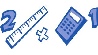 Grafik 2 Zahlen, ein Lineal und ein Taschenrechner