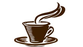 Grafik Kaffeetasse heißem Kaffee und Unterteller