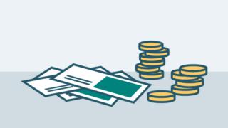 Grafik mit Geldscheinen und Münzen
